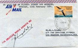 """TERRITOIRE ANTARCTIQUE AUSTRALIEN LETTRE PAR AVION AVEC CACHET """"PAN AMERICAN WORLD AIRWAYS INC."""" + SIGNATURES........... - Lettres & Documents"""