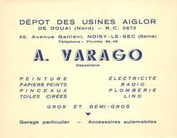 93 - Noisy-le-Sec - Carte De Visite - Bon De Commande - Dépot Des Usines Aiglor De Douai - A. VARAGO - Dépositaire - Noisy Le Sec