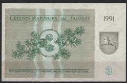 B 72 - LITUANIE Billet De 3 Talonas De 1991 état Neuf - Lituanie