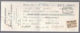 LOT ET GARONNE - VILLENEUVE SUR LOT - ROBES ET MANTEAUX JEANNE NAVARRO TIMBRE FISCAL 10C - 1913 - Francia