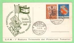 Italia Cartoncino Numerato Mestre Convegno 1965 Ufficio Filatelico Mestre Raduno Triveneto Filatelisti - Varietà E Curiosità