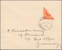 Kanalinseln - Guernsey Halbierung 178 H Auf Brief 27.12.40, Geprüft Möhle BPP - Besetzungen 1938-45