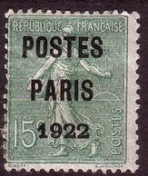 """PRÉOBLITÉRÉ SEMEUSE 15c VERT-OLIVE N° 31 Oblitéré. SURCHARGE """" POSTES PARIS 1922 """" - 1893-1947"""
