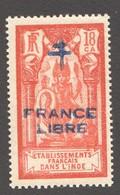 INDE ßurcharge »Croix De Lorraine Et FRANCE LIBRE»  Maury  207 II  ** Signé - India (1892-1954)