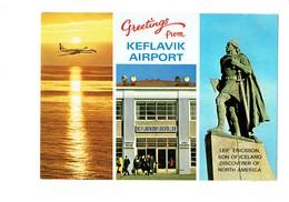 Cpm - Island Keflavik Airport - Leif Ericsson - Avion Dans Le Ciel - - Avions