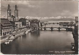 DAV : Suisse :  ZURICH   Limmat , Grobmünster  Und  Die   Alpen  , Alpes - ZH Zurich