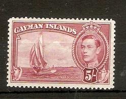 CAYMAN ISLANDS 1938 5s CARMINE - LAKE SG 125 LIGHTLY MOUNTED MINT Cat £42 - Cayman Islands