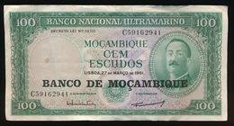 MOZAMBIQUE - Billet De 100 Escudos - 1961  2 SCANS - Mozambique