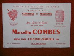 BUVARD LEZIGNAN CORBIERES MARCELLIN COMBES VINS DE TABLE - Buvards, Protège-cahiers Illustrés
