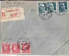 TP N° 713x3/676x3 SUR LETTRE REC. DE 1946 - 1945-54 Marianne Of Gandon