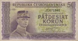 (B0035) CZECHOSLOVAKIA, 1945 (ND). 50 Korun. P-62a. VG - Tchécoslovaquie