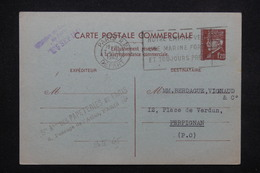 FRANCE - Entier Postal Commerciale , Type Pétain De Paris Pour Perpignan En 1942 - L 22024 - Cartoline Postali E Su Commissione Privata TSC (ante 1995)
