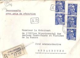 TP N° 886x5  SUR LETTRE REC. DE 1954 - 1945-54 Marianne De Gandon