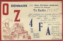 "2508 "" FROM OZ4FA - DENMARK TO RADIO I1COT "" CART.ORIG.SPED. - Radio Amatoriale"