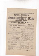MARSEILLE / JOURNAL QUOTIDIEN DES ANNONCES JUDICIAIRES ET LEGALES / 8 ET 9 JUIN 1923 - Journaux - Quotidiens