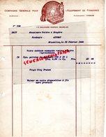 BELGIQUE-BRUXELLES- FACTURE COMPAGNIE GENERALE POUR EQUIPEMENT FONDERIES- FONDERIE-FONTE-115 BD ANSPACH -1920 - Old Professions