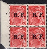FRANCE  LIBERATION  2 ** MNH Type Type Mercure Rhône-Alpes LYON Bloc De 4 Bord De Feuille - Liberation
