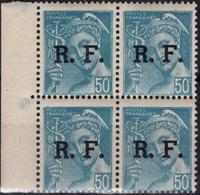 FRANCE  LIBERATION  4 ** MNH Type Type Mercure Rhône-Alpes LYON Bloc De 4 Bord De Feuille - Liberation