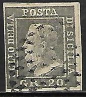 SICILE    -   1859 .  Y&T N° 23 Oblitéré.    FAUX  /  FALK  /  FORGERIE. - Sicily
