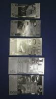 Set 5 Banconote  Laminate In Oro Da 5,10,20,50,100 Euro - Unclassified