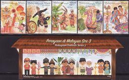 Malaysia 2019-1 Festivals Set+M/S MNH Dance Costume Agriculture Music Fruit Food Unusual - Malasia (1964-...)