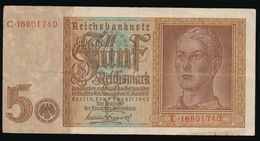 5 REICHMARK 1942  2 SCANS - 1933-1945: Drittes Reich