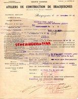 BELGIQUE-BRACQUEGNIES- LETTRE ATELIERS CONSTRUCTION -FIRME EDOUARD NOULET- FONDERIE DE FER- 1931 - Old Professions