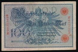 100 REICHSBANKNOTE 1908  2 SCANS - 100 Mark