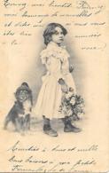 JOLIE FILLETTE AU CHAPEAU AVEC SON CHIEN AU CHAPEAU - Portraits