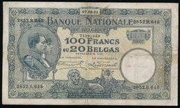 100 FRANCS OU 20 BELGAS 07.09.31  2 SCANS  MOOIE STAAT - [ 2] 1831-... : Royaume De Belgique