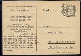 ALLEMAGNE - Carte Entier Postal 6 R.pf Gebuhr Bezalht De Freiburg Vers Hambourg - B/TB - - Zona Francese