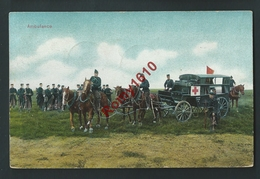 Ambulance Croix-Rouge, Militaires, Attelages Chevaux, Soldats. 2 Scans - Croix-Rouge