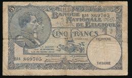 VIJF FRANK  24.04.31  2 SCANS - [ 2] 1831-... : Royaume De Belgique