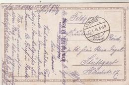 Cachet GREN RGT 123 10 KOMP  Feldpost 27/7/1918 Sur Carte Postale Pour Stuttgart - Allemagne