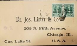 O) 1913 CIRCA-BOLIVIA, JUSTICE SCT 98 2c  OVERPRINTED BLACK OVERPRINTED CORREOS 1912 -SP.D - DR JOS LISTER AND CO TO USA - Bolivia