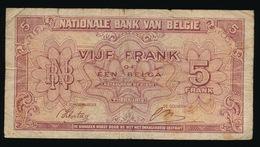 5 FRANK  OF 1 BELGA  01.02.43  2 SCANS - [ 2] 1831-... : Royaume De Belgique