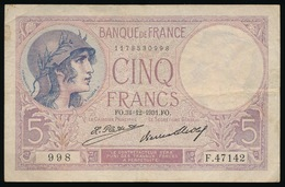 5 FRANCS  31_12_1931 FO VIOLET   2 SCANS - 1871-1952 Anciens Francs Circulés Au XXème