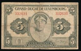 GRAND DUCHE DE LUXEMBOURG  CINQ FRANCS    2 SCANS - Luxembourg