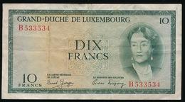 GRAND DUCHE DE LUXEMBOURG  DIX  FRANCS    2 SCANS - Luxembourg