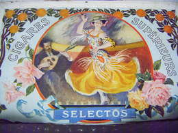 CIGARES SELECTOS ANCIENNE BOITE A CIGARES EN BOIS TRES BEAU DECOR - Boites à Tabac Vides