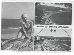 CARD DIANO MARINA    PIN-UP  SALUTI DA .....VEDUTINE  (IMPERIA)-FG-N -2-  0882-28630 - Imperia
