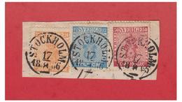 SVERIGE -- SUEDE -- FACIT N°9, 10, 12 SUR FRAGMENT ; OBLITERATION STOCKHOLM 18/08/1866-- - Schweden