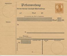 Deutsches Reich  -  1918 ,  Postanweisung-Umschlag  Innerhalb Wuerttembergs - Alemania