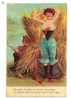 Lot 5 CPA 1905 Couple Amours Dans Les Blés. Poème 5 Couplets Pêche Poisson Froufrous Dentelles Et Canotier (série De 5) - Cartoline