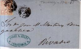 Año 1867 Edifil 96 50m Isabel II  Frontal Matasellos Torrevieja Alicante - 1850-68 Kingdom: Isabella II