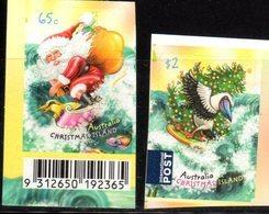 CHRISTMAS ISLAND, 2018, MNH, CHRISTMAS, SANTA CLAUS, BIRDS,   FISH, 2v S/A Ex. BOOKLETS - Kerstmis