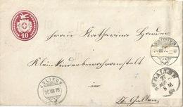 Tübli Brief 24  Jslikon - Winterthur - St.Gallen               1875 - Ganzsachen