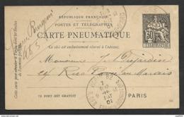 Carte Pneumatique-Cachet Paris 82 R. Des Francs Bourgeois - Postmark Collection (Covers)