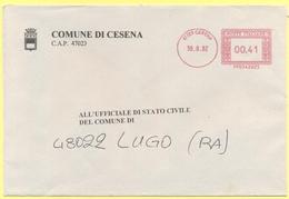ITALIA - ITALY - ITALIE - 2002 - 00,41 EMA, Red Cancel - Comune Di Cesena - Viaggiata Da Cesena Per Lugo - Affrancature Meccaniche Rosse (EMA)
