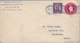 1926 ESTADOS UNIDOS , SOBRE ENTERO POSTAL CIRCULADO , SAN FRANCISCO - BARCELONA , LLEGADA, FR. COMPLEMENTARIO - 1921-40